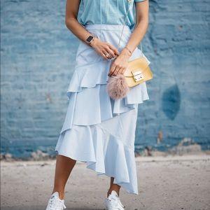 Striped tiered midi skirt
